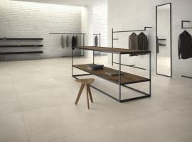ariostea; płyty wielkoformatowe; nowoczesne wnętrze; efekt cementu