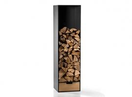 nowoczesny regał na drewno; stojak na drewno kominkowe; półka na drewno kominkowe