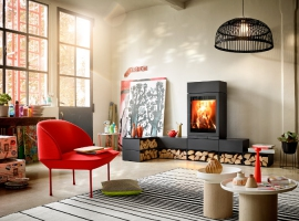 kominek nowoczesny; wydajny piec; kominek do domu; kominek na drewno; kominek z atestem