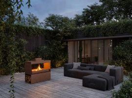 kominek na drewno na taras; kominek zewnętrzny, kominek outdoor;