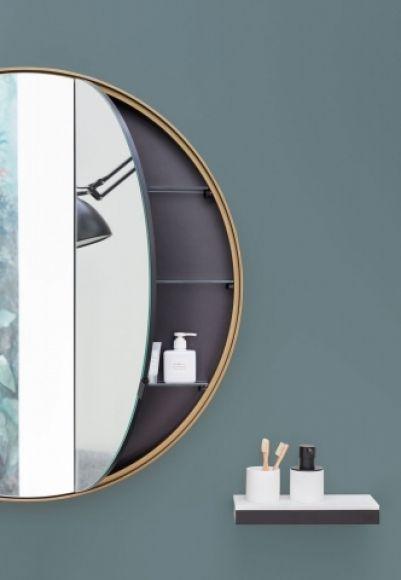 okrągłe lustro, lustro ze schowkiem, włoskie lustro, ekskluzywne lustro, lustro w kształcie okręgu, lustro z szafką, lustro do makijażu