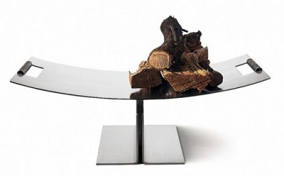 ekskluzywna półka na drewno; nowoczesny stojak na drewno kominkowe; nowoczesny kominek; drewno do kominka
