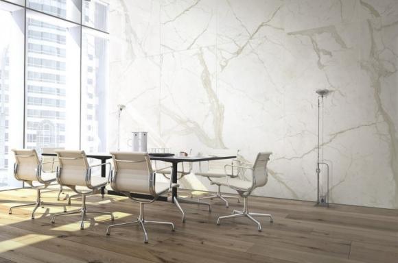 ariostea; płyty wielkoformatowe; nowoczesne wnętrze; efekt marmuru; marmur
